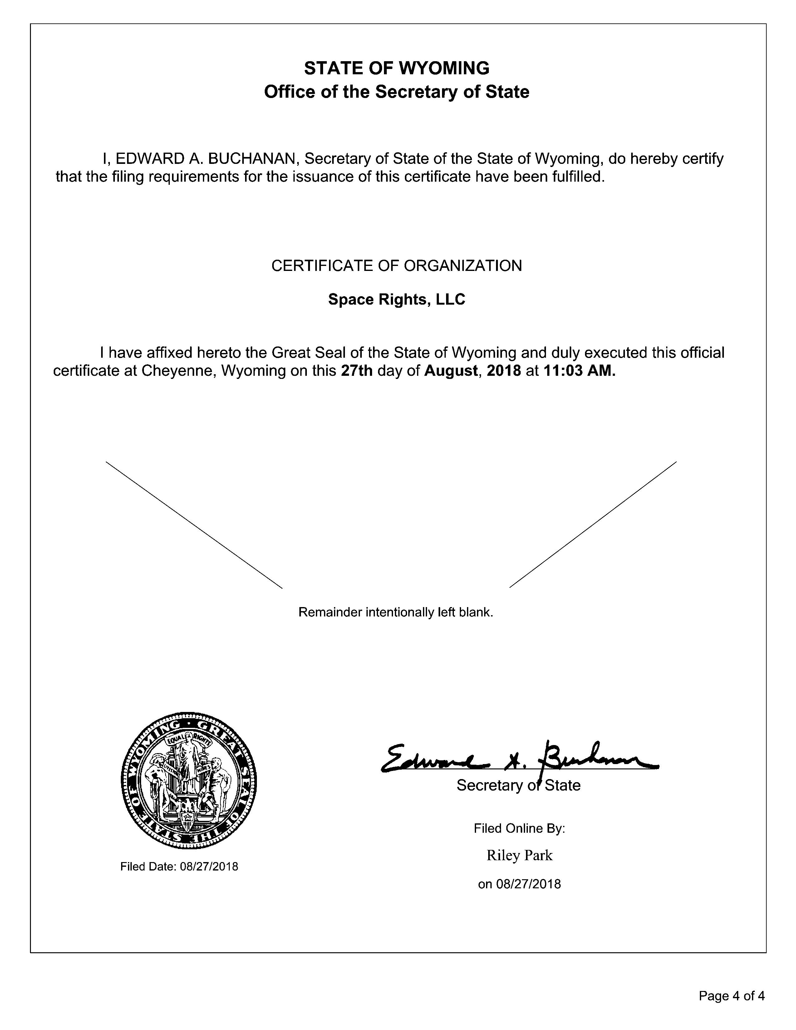 Space Rights LLC - FIled 08.27.2018